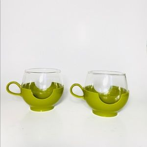 Vintage 70s Pyrex glass cups green plastic sleeves